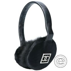 Authentic CHANEL Harako x Fur x Leather Earmuffs with CC Logos black $598.00