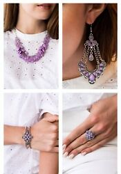 Paparazzi jewelry Glimpses of Malibu Purple Bead Flower July Fashion Fix Set New