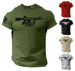 Men America Gun T Shirt US Flag 2nd Amendment Military Veteran  T-Shirt