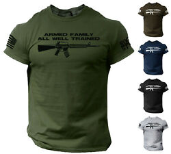 America Guns Armed Family T Shirt US Flag America Funny Military Warrior T-Shirt