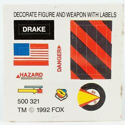 Original Decal Sheet for Drake from 1992 Kenner Aliens Action Figure Series $5.00