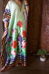 Beautiful Maxi Caftan Jewel Print Floral Green V Neck Beach Cover Up Long Dress $34.98