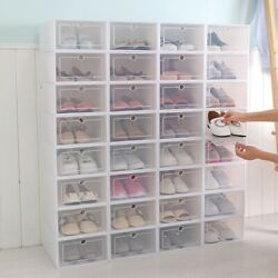 10x Clear Plastic Shoe Storage Boxes Drawer Stackable Foldable Durable Organiser $9.29