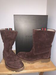 NWT Gucci Brown SHEARLING MOTO PELLE GOMMA HARLEY Boots 12 $899.99