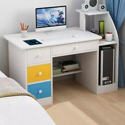 Simpleness Laptop Computer Desk With Drawer Shelf Office Home Modern Small Desk $92.99