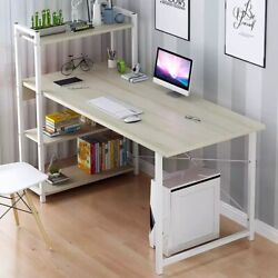 Computer Laptop Desk With Shelves Simple Modern Single Bedroom Simple Office $72.99