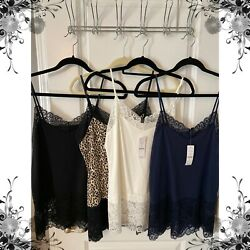LOT OF 4 WHITE HOUSE BLACK MARKET LACE TRIM CAMIS - SZ LG - 2 NWT 2 PRE-OWNED $44.99