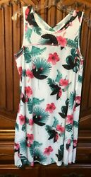 NWT Women's Size L White Beach Cover Up Pullover Dress with Pockets $17.10