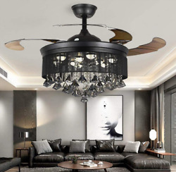 42quot; Invisible Ceiling Fan Light Black Crystal Chandelier w 3 color LED Remote $198.89