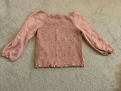 Abercrombie amp; Fitch Kids Girls Long sleeve Floral tops Sz 9 10 PINK $9.99