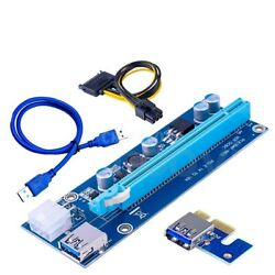 NEW USB 3.0 PCI E Express 1x To 16x Extender Riser Card Adapter 6PIN Power Cable $7.00