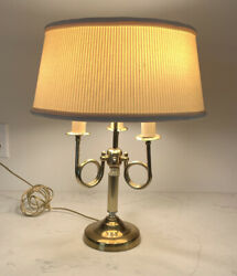 Vintage Alsy Brass Bouillotte lamp Brass french horn 3 light with shade $63.79