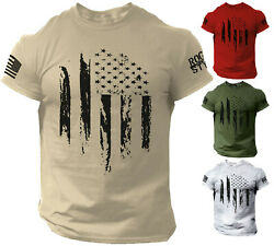 USA Distressed Flag T Shirt American Patriotic Tee $13.90