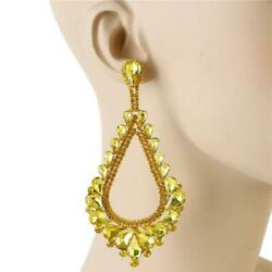 4quot; Yellow Rhinestone Chandelier CLIP ON Evening Earrings 2143 $17.99