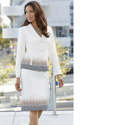 Monroe amp; Main Ivory Formal Dress Emily Embroidered Skirt Suit 6 12 14 16 16W $29.99