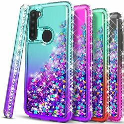 For Samsung Galaxy A11 Case Liquid Glitter Bling Tempered Glass Protector $7.99