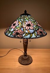 VTG Stained Glass Table Lamp Shade 3D Purple Flowers $199.99