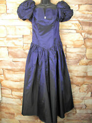 Vintage purple dress with silver accent puff sleeve US 10 bow on the back $39.99