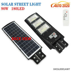 90W LED Solar Street Light Outdoor Commercial IP67 Dusk to Dawn PIR Sensor Lamp