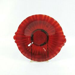 Plate Serving Ruby Red Depression Glass Handled Vintage 8quot; $47.95