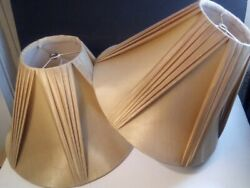 Nice Vintage Lamp Shades Med. Pleated Champagne Golden color $70.00