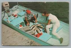 Fishing Boat Men LAKE POMME DE TERRE Hickory County Missouri Vintage PC 1968 $12.99