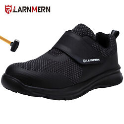 LARNMERN Mens Safety Shoes Steel Toe Work Anti puncture Loopamp;hook Soft Sneakers $37.80