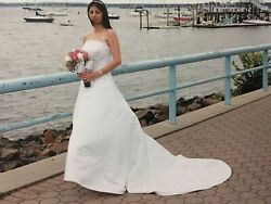 New Theresa's Bridal White Wedding Dress With Veil Reduced From $1499 $459.99