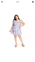 Love Shack Fancy For Target Amalie Purple Floral Tiered Ruffle Dress New $39.99
