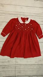 Fantaisie Kids 3T Girl Red Long Sleeve Corduroy Smocked Dress Holiday Boutique $9.46