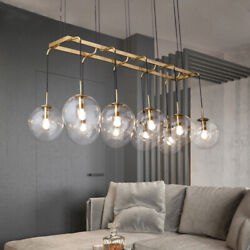 Contemporary Glass Globe Chandelier Brass Linear Pendant Ceiling Lamp Fixture $199.00