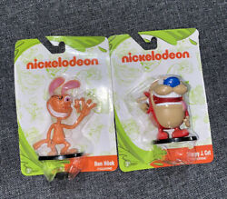 Nickelodeon 2018 Ren Hoek amp; Stimpy J. Cat 2quot; Figurines Lot of 2 Nick Toons quot;Kquot; $8.00