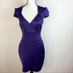 Guess Womens Purple Formal Cocktail Evening Cap Sleeve Dress Size 8 $59.99