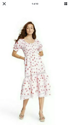 Love Shack Fancy For Target Cosette Smocked Puff Sleeve Floral Dress New $39.99