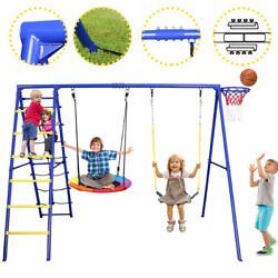 Metal Swing Set Kids Playset Playground 5 in 1 Swingset with Ladder Belt Swing $238.58