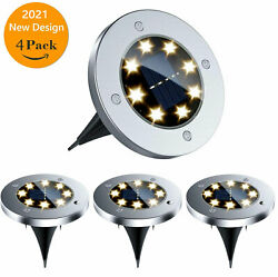 Solar Ground Lights Walkway Lights 8 LED Waterproof Solar Powered Outdoor Lights
