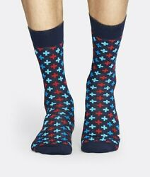 Happy Socks Blue and Red Plus Socks Mid Calf Socks Men#x27;s Size 8 12 $4.95