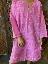 Boho Pink Cotton Chikankari Hand Embroidered Bohemian Cover Up Ethnic Long Tunic $34.68