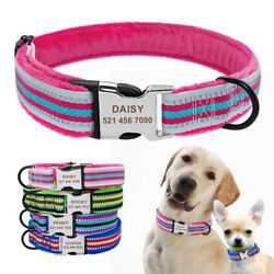 Reflective Dog Personalized Collars Soft Fleece Padded Dog Name Tag Engraved S L $11.99
