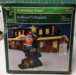 7ft Inflatable Santa Claus Climbing Christmas Tree Chased by Dog Yard Decoration $49.00