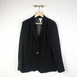 Chicos Womens Suit Jacket Blazer Black Stretch Long Sleeve Button Lined 2 L 12 $14.99