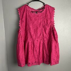 andree by unit 3X Top Blouse Pink Lace New Sleeveless Boho Plus $21.99