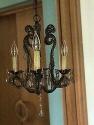 Small Chandelier Antiqued Bronze Beaded Ceiling Light Gothic 12quot; x 12quot; Lowes $24.99