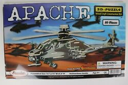 APACHE Helicopter 3D Puzzle Wood Craft Construction Kit Camo Colored NEW Sealed $16.95