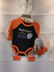Baby Halloween Boy or Girl 3 Piece Outfit Set NWT Mommy#x27;s Little Monster Size 3M $14.99