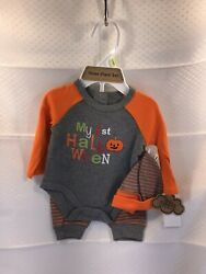 Baby#x27;s First Halloween Boy or Girl 3 Piece Set Outfit NWT Pumpkin Size 3M $14.99