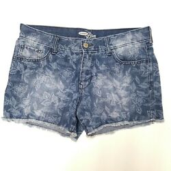 Old Navy Womens Cut Off Floral Shorts Size 8 Diva Mid Rise 3.5quot; Inseam Denim GC $9.50