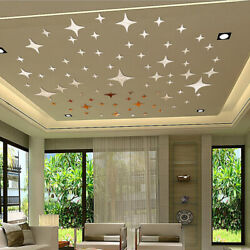 43Pc Star Acrylic Art 3D Wall Mirror Sticker DIY Home Room Decal Decor Removable $9.34