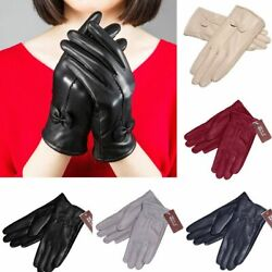Gloves Women#x27;s Winter Warm Genuine Lambskin Leather Driving Fashion Soft Lining $7.79