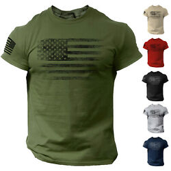 USA Distressed Flag Men T Shirt Patriotic American Tee $13.90